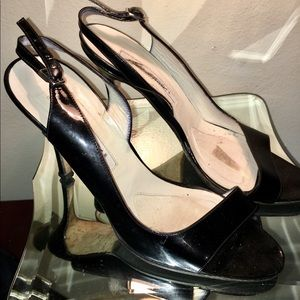 Black Open Toe Patent Leather Slingback Heels